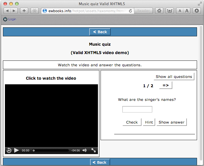 xhtml5 player in IE