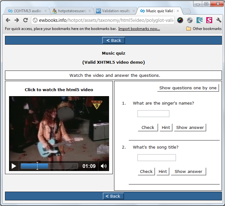 xhtml5 player in chrome