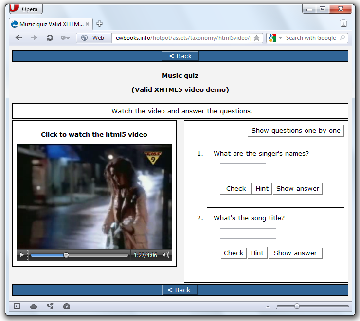 xhtml5 player in opera